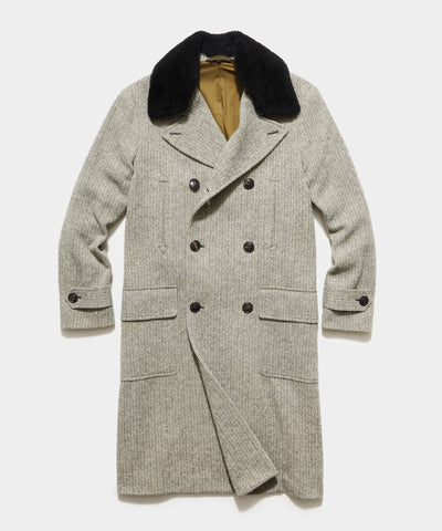Double Breasted Herringbone Topcoat with removable Shearling Collar