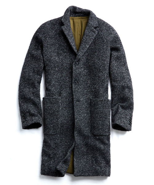 Italian Wool Boucle Herringbone Topcoat in Charcoal