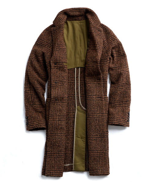 Italian Wool Boucle Glen Plaid Topcoat in Brown