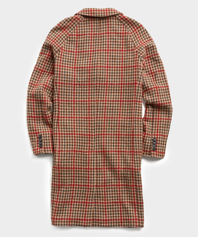 Italian Tweed Wool Raglan Windowpane Topcoat in Red