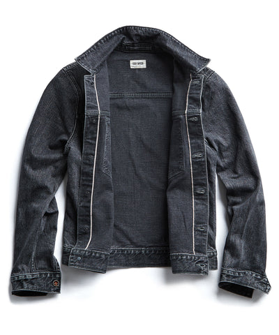 Japanese Stretch Selvedge Destroyed Black Wash Denim Jacket