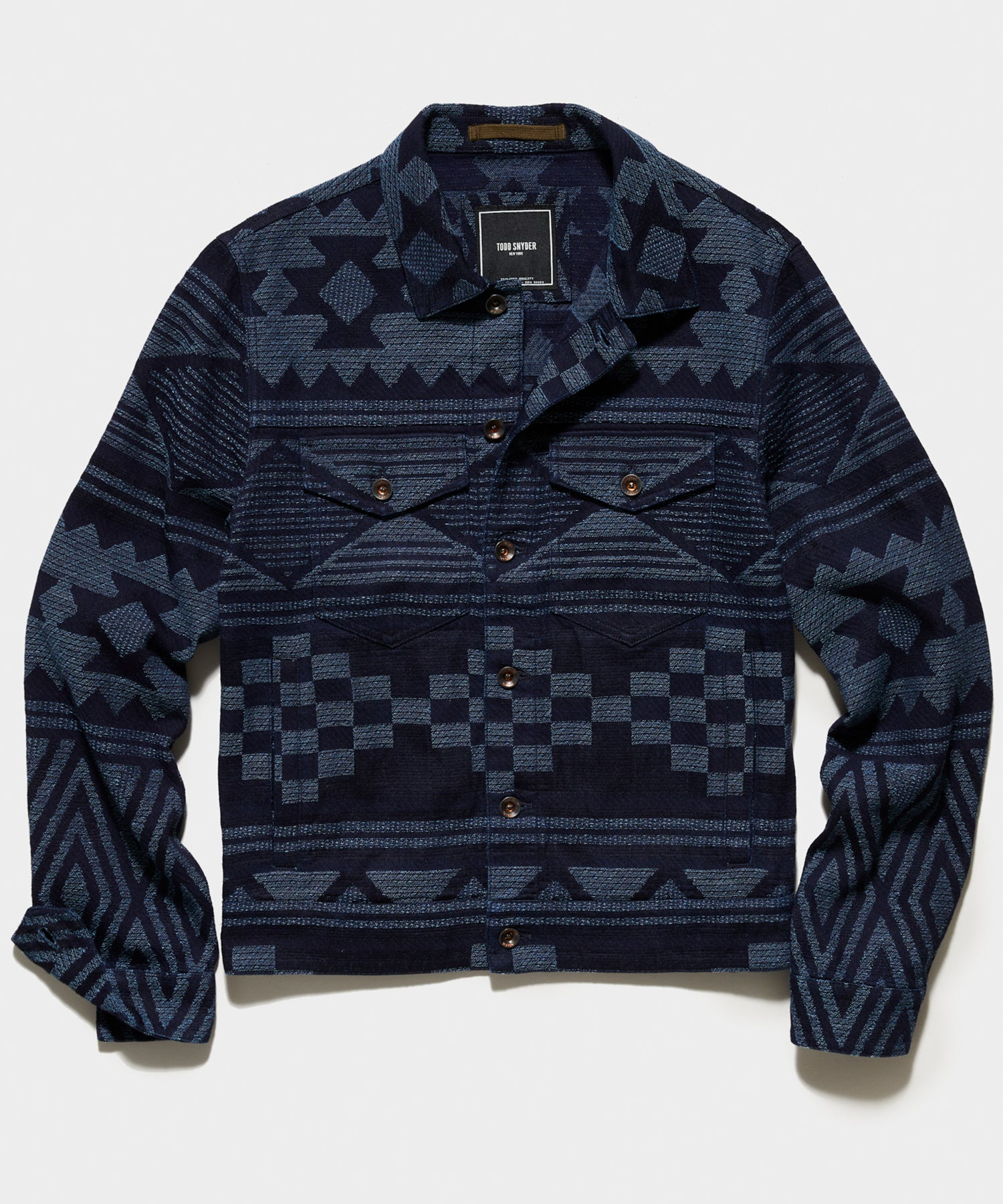 Japanese Jacquard Dylan Jacket in  Indigo