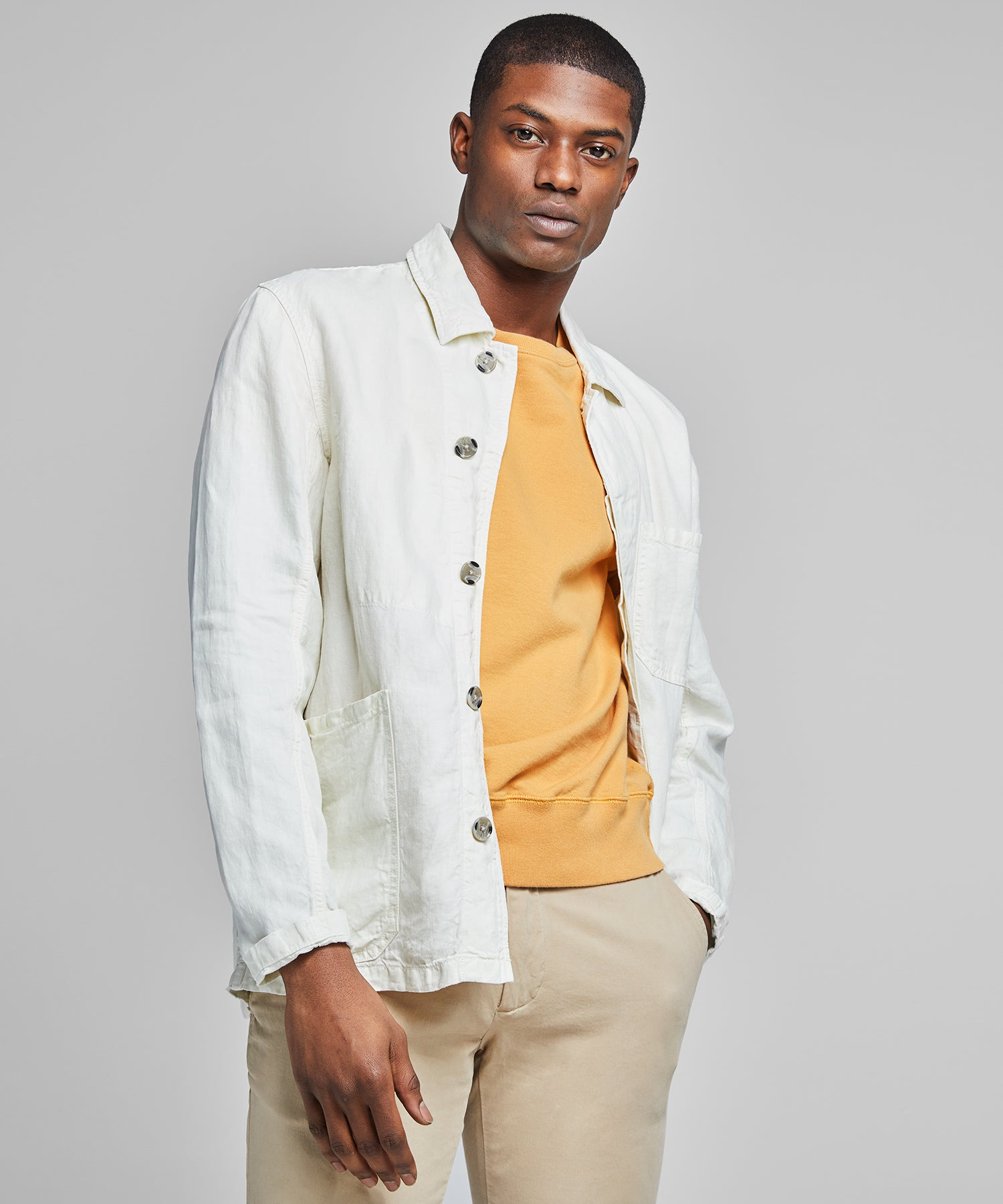 Garment Dyed Linen Chore Coat in White