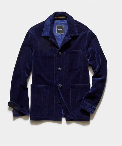Italian Corduroy Chore Coat in Baltic Blue