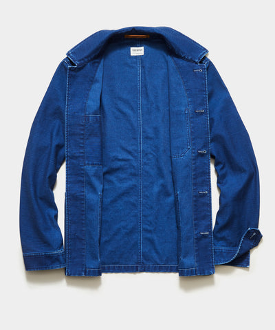 Japanese French Chore Coat In Indigo