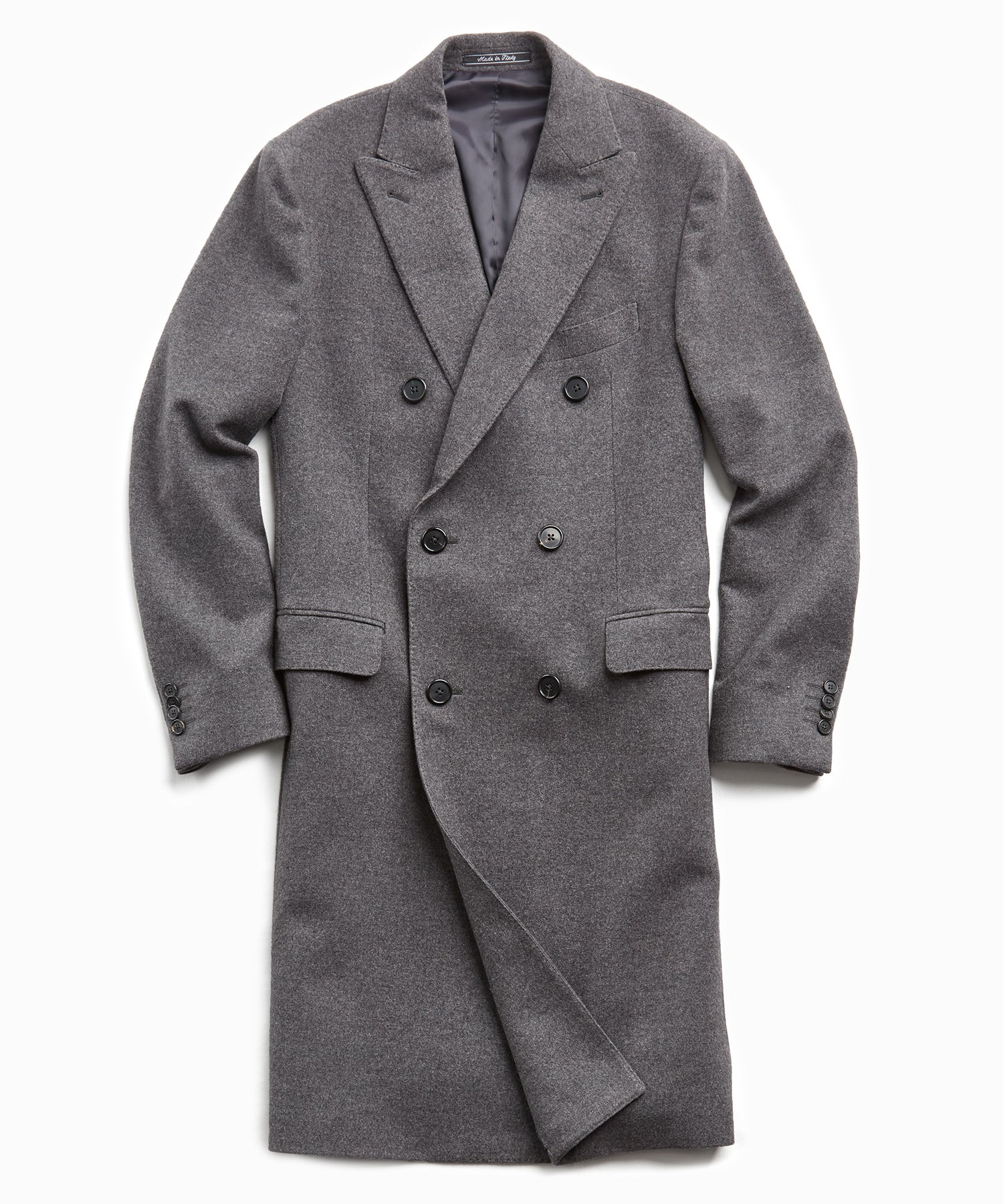 Italian Cashmere Double Breasted Topcoat in Charcoal