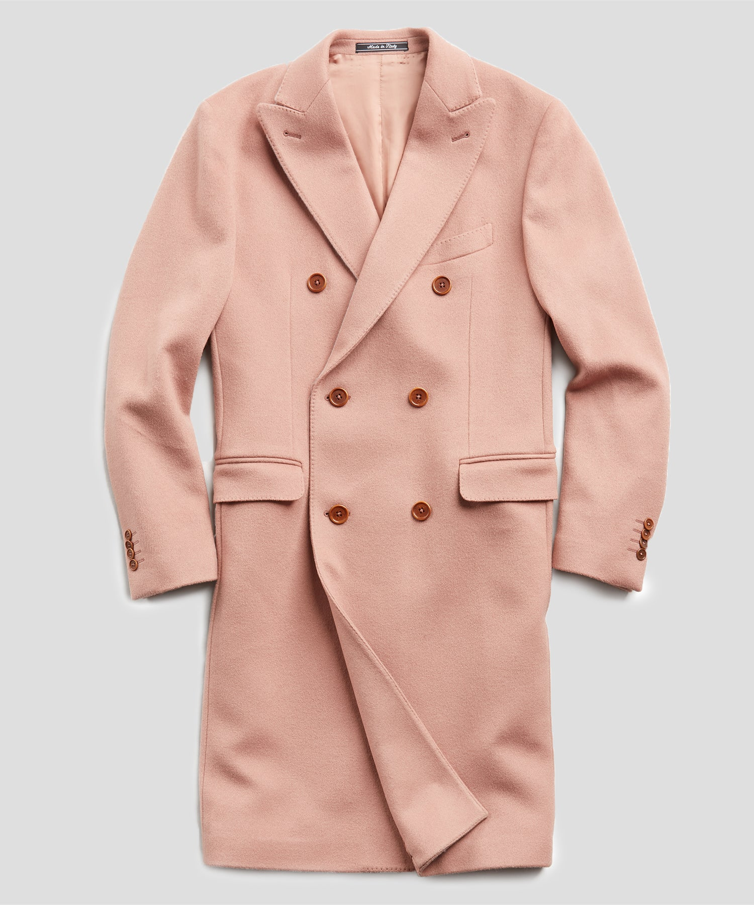 Italian Wool Cashmere Double Breasted Topcoat in Pink