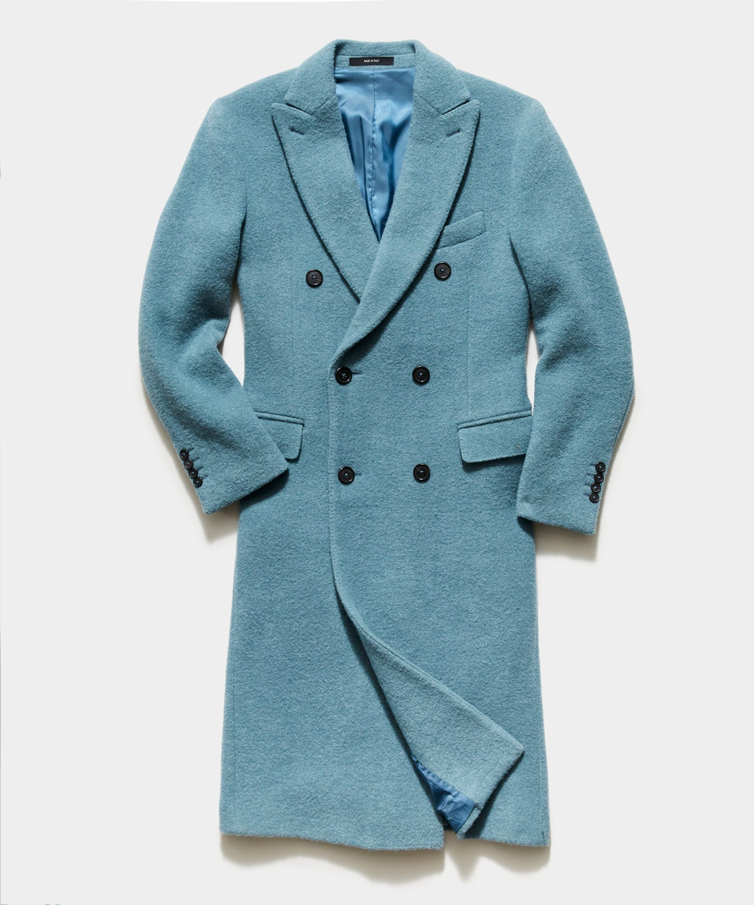 Italian Boucle Double Breasted Topcoat in Light Blue
