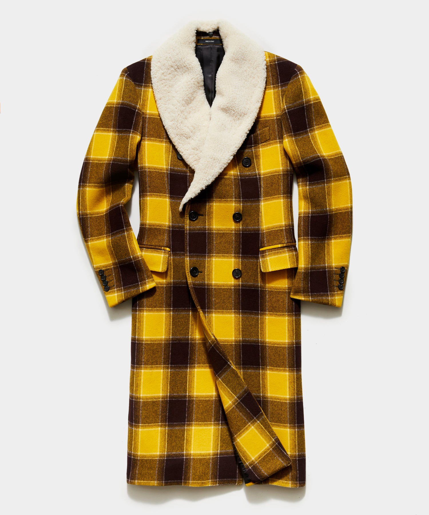 Italian Buffalo Plaid Two Collar Topcoat in Yellow Navy