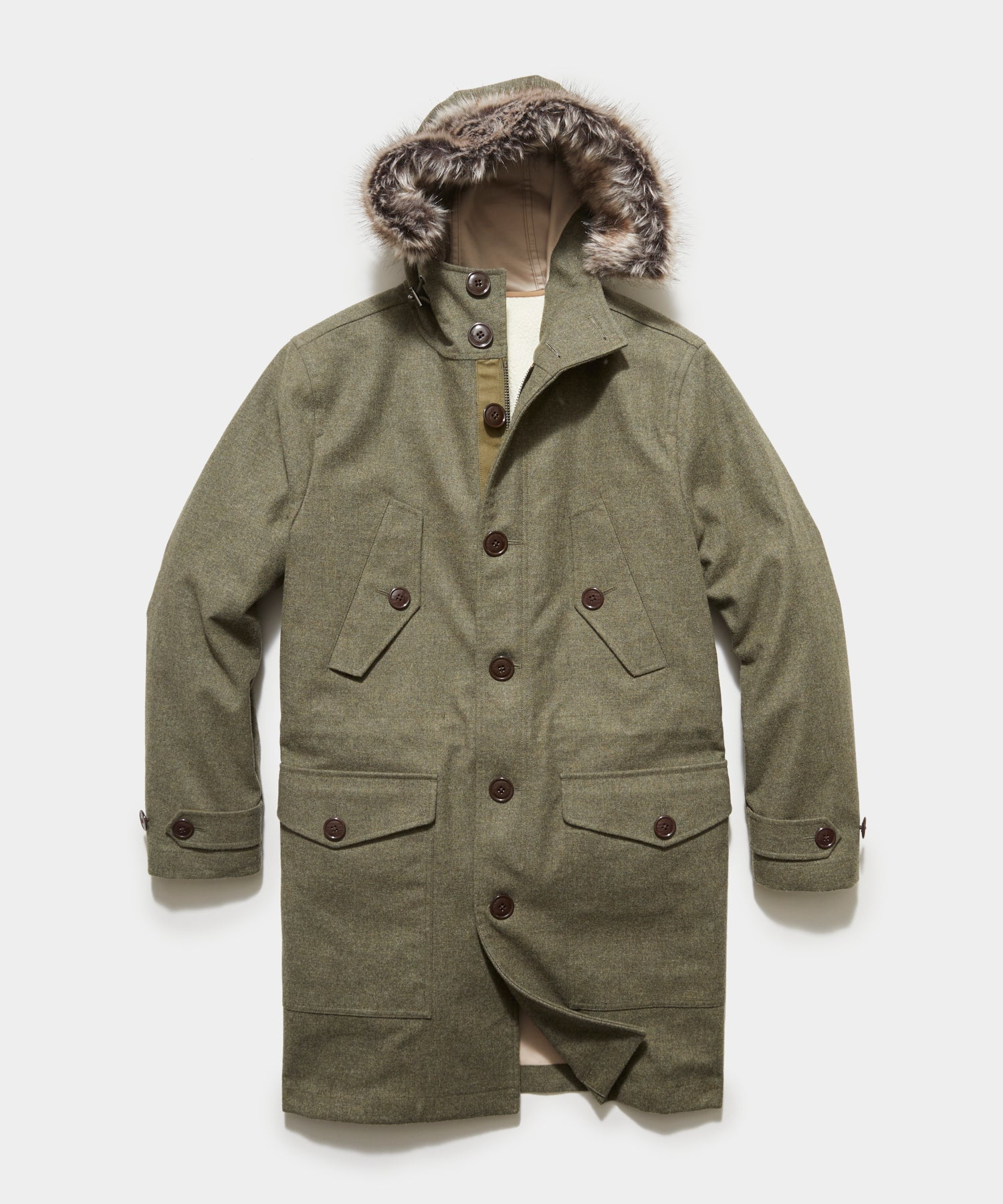3-1 Wool Parka In Dusty Olive