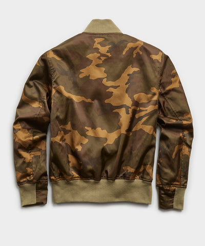 Japanese Satin Camo Bomber in Fatigue Green