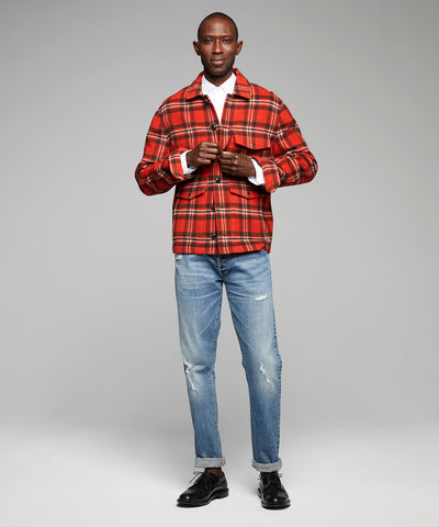 Wool Plaid Cruiser Jacket in Orange