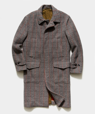 Italian Glen Plaid Topcoat in Brown