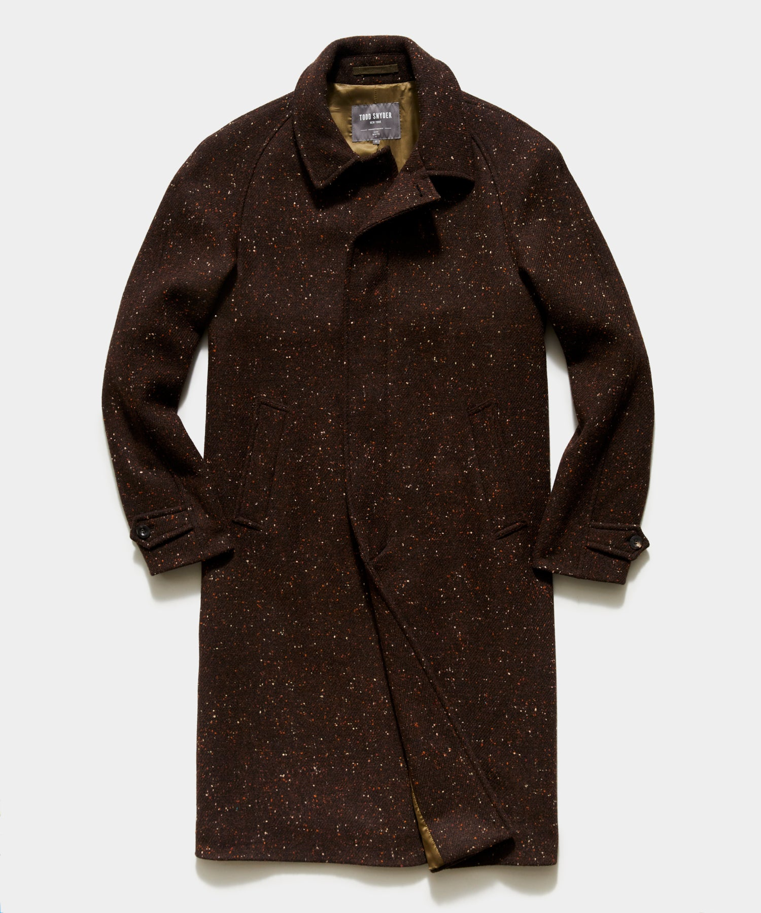 Italian Donegal Twill Balmacaan Coat in Brown