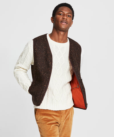 Reversible Donegal Wool Quilted Vest in Brown