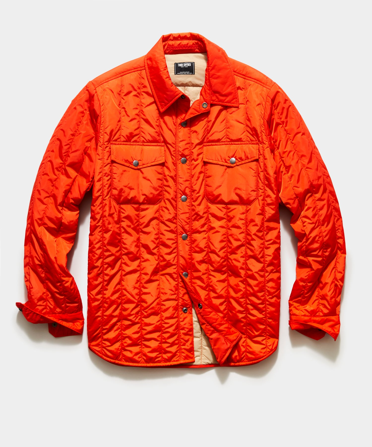 Italian Quilted Liner Jacket in Orange