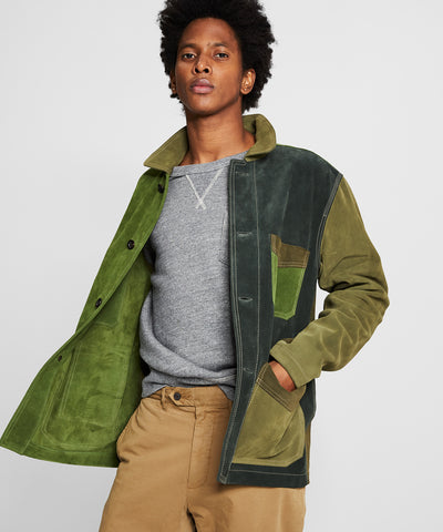 TS x Drake's Suede Patchwork Chore Jacket in Olive