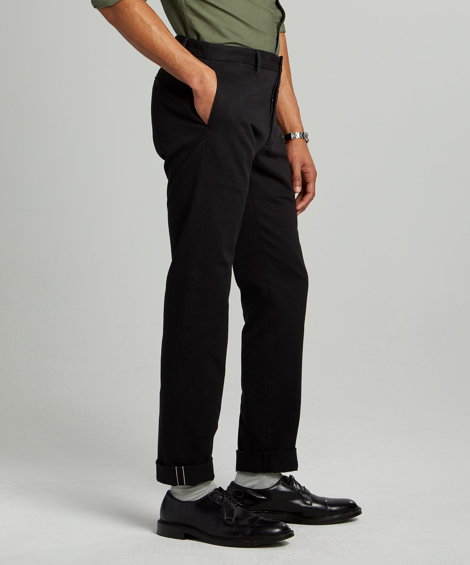 Japanese Garment Dyed Selvedge Chino in Jet Black