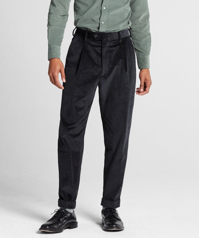 ITALIAN PLEATED CORD MADISON SUIT TROUSER