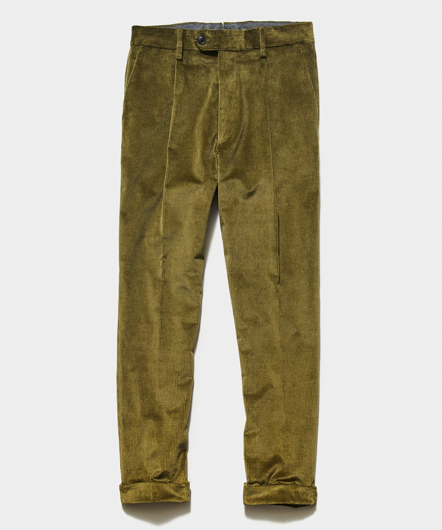 Italian Pleated Cord Madison Trouser in Olive
