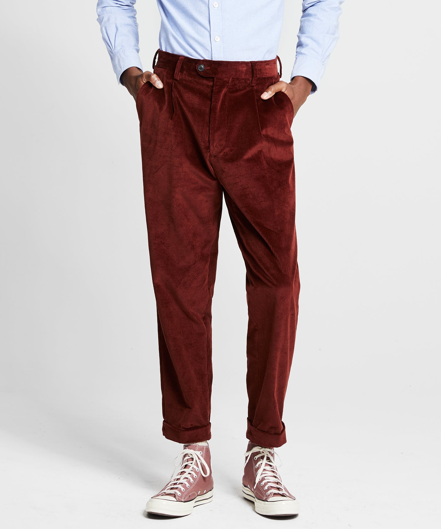 Italian Pleated Cord Madison Trouser in Rust