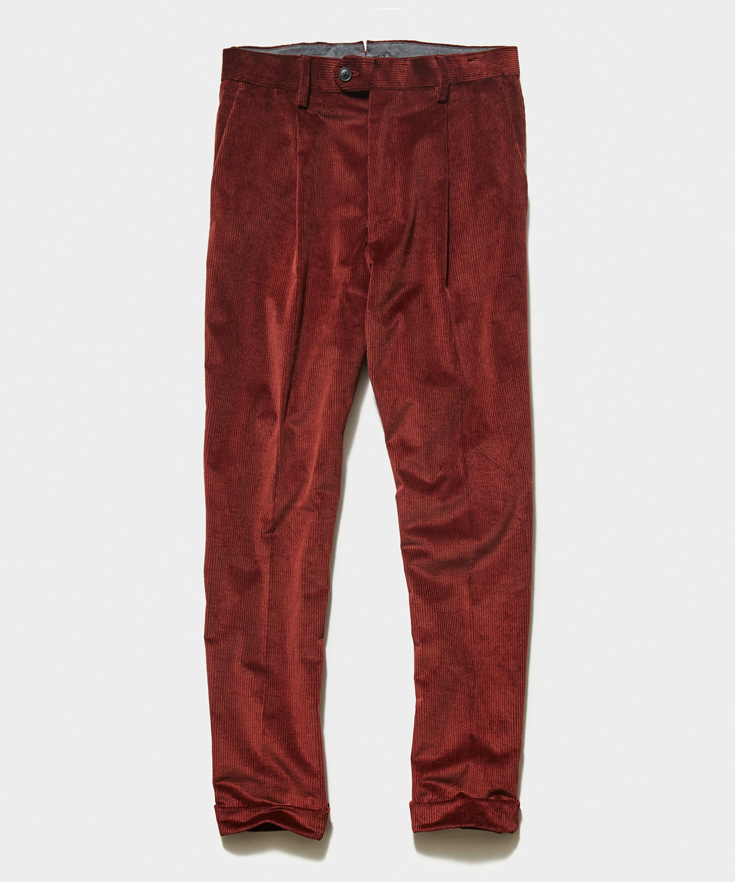 Italian Pleated Cord Trouser in Rust