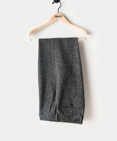 Donegal Wool Madison Pleated Suit Trouser in Charcoal