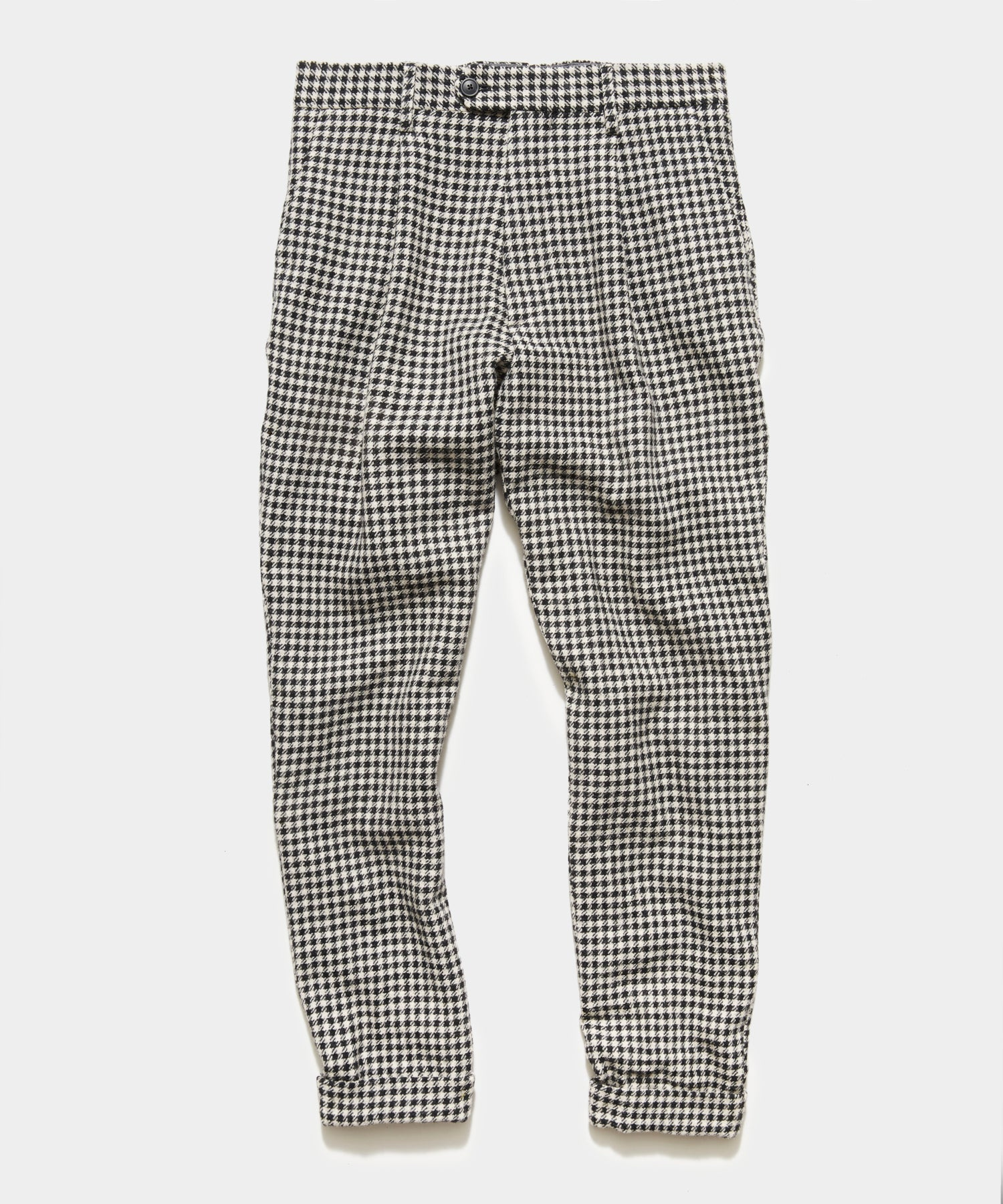 Cream and Black Houndstooth Wool Pleated Pant