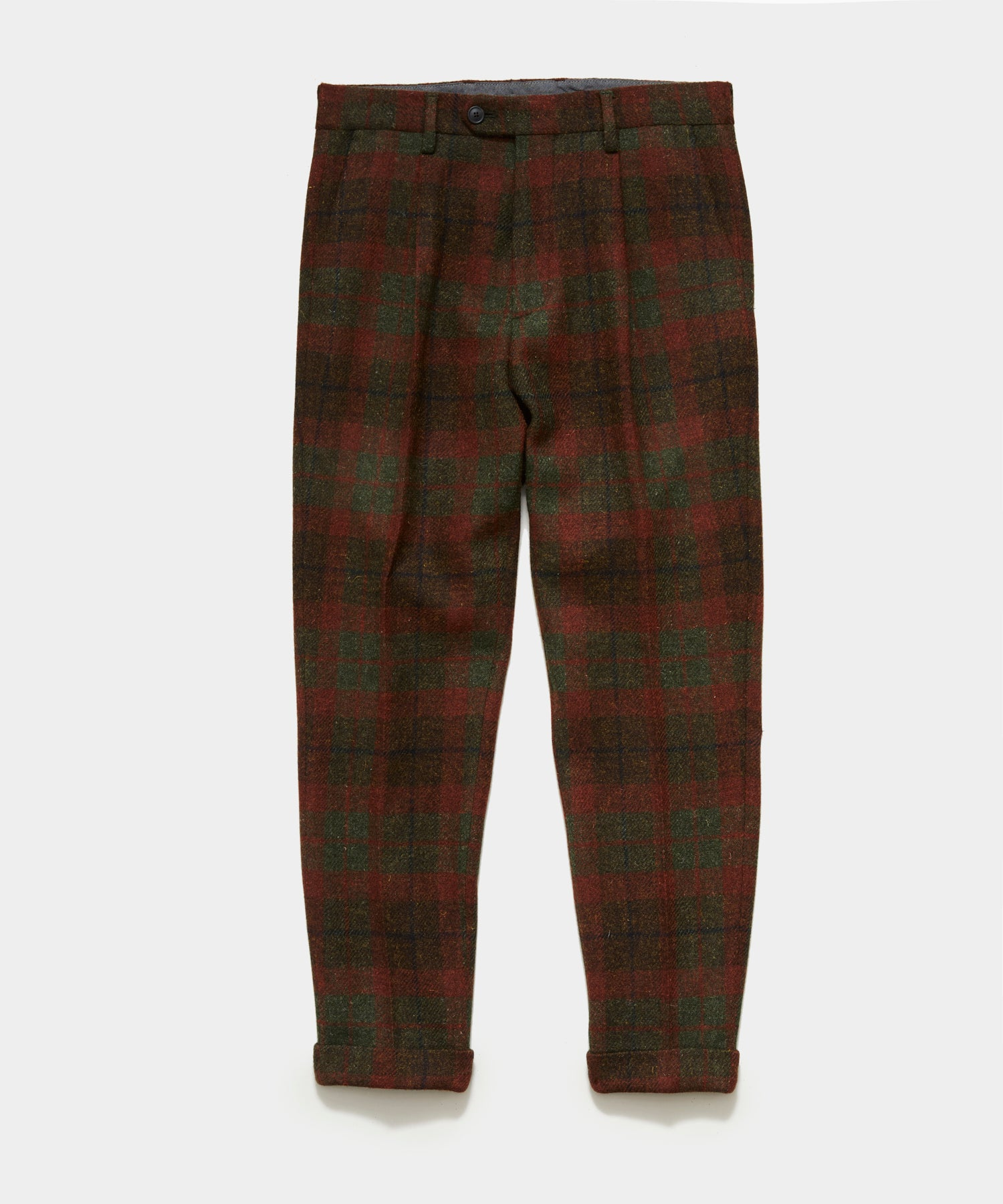 Harris Tweed Wool Pleated Pant in Brown Plaid