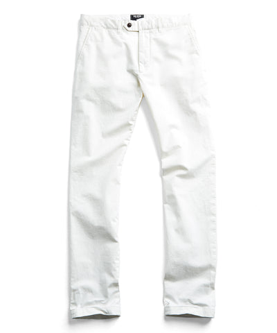 Extra Slim Fit Tab Front Stretch Chino in Off White