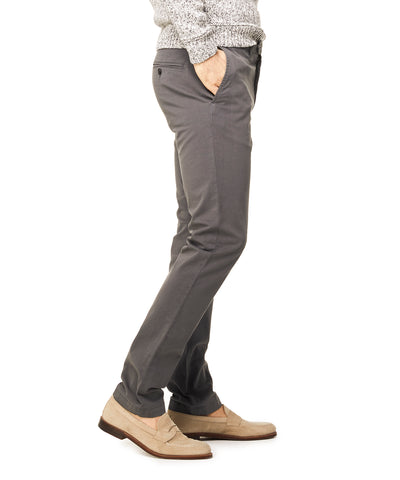 Slim Fit Tab Front Stretch Chino in Charcoal