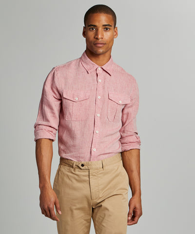 Italian Two Pocket Linen Utility Long Sleeve Shirt in Red