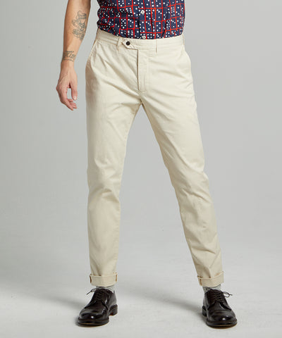 Slim Fit Tab Front Stretch Chino in Ivory Coast