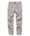 ITALIAN LINEN ELASTIC WAISTBAND PANTS IN GREY