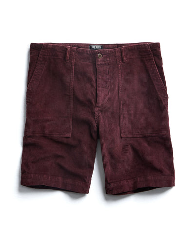 "9"" Stretch Italian Corduroy Camp Short in Burgundy"
