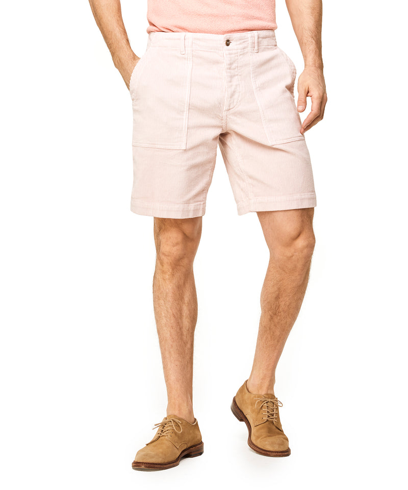 "9"" Stretch Italian Corduroy Camp Short in Pink"