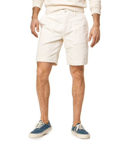 "9"" Stretch Italian Corduroy Camp Short in Off White"