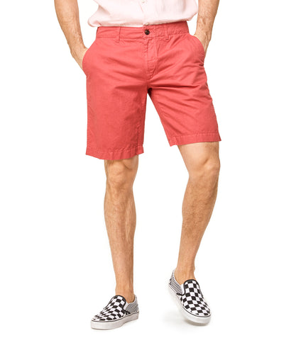 "9"" Cotton Linen Oxford Surplus Short in Red"