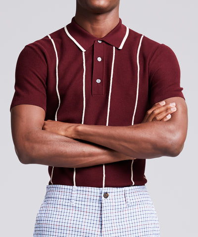 Tipped Wide Stripe Mesh Polo Sweater in Burgundy