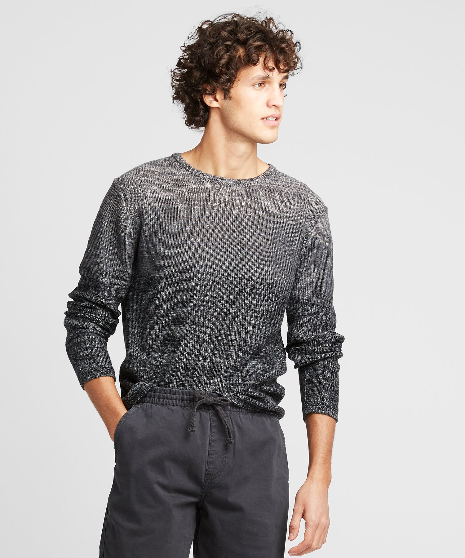 Inis Meain Linen Roll Neck in Ombre Dark Grey