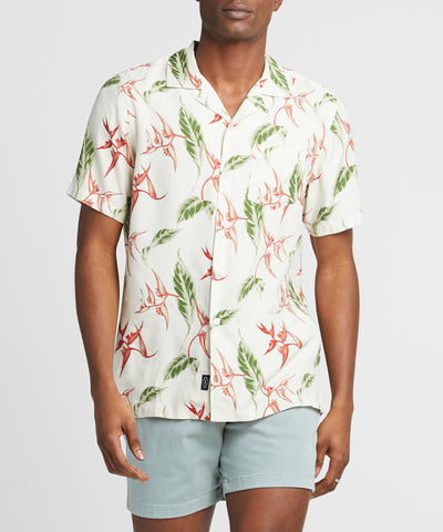 Aloha Leaf Print Camp Collar Short Sleeve Shirt in Off White