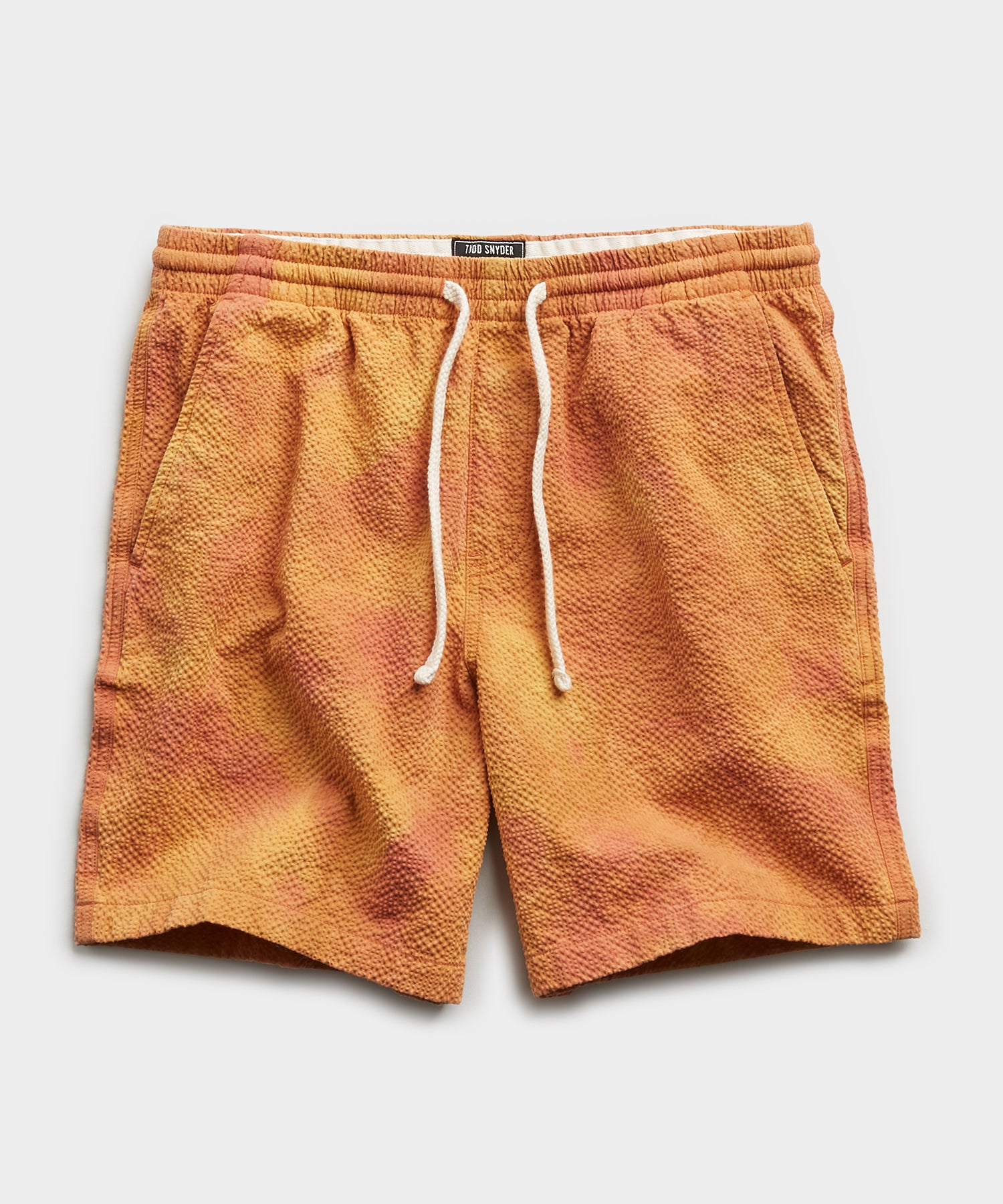 "7"" Tie Dye Seersucker Weekend Short in Orange"
