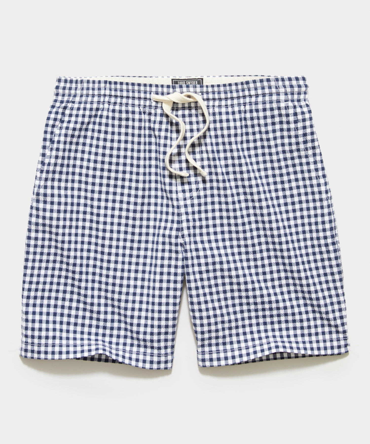"7"" Italian Seersucker Weekend Short in Navy Gingham"