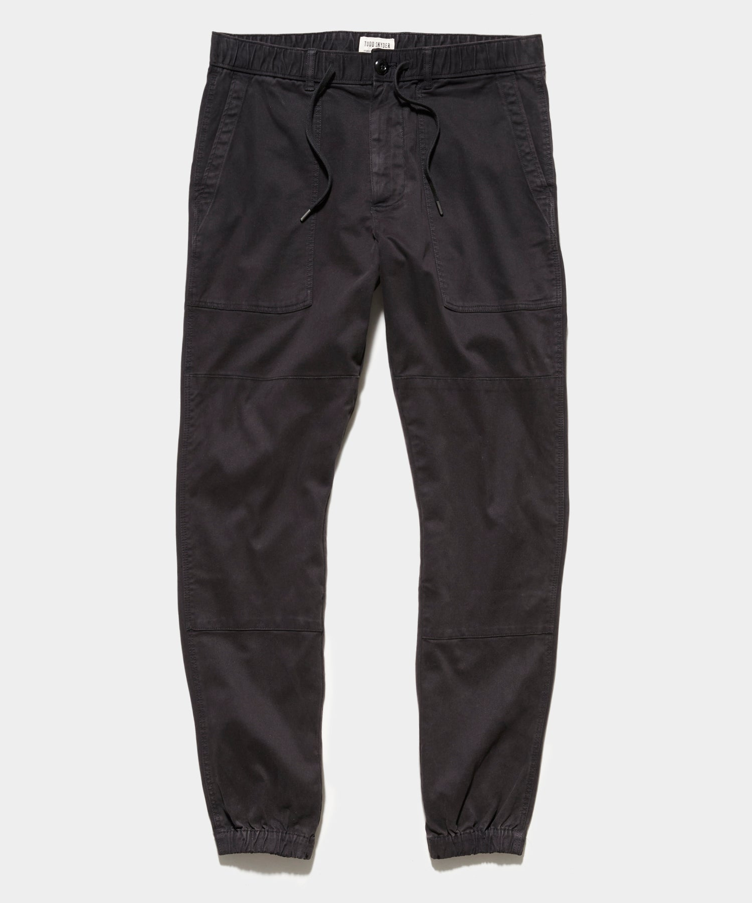 Italian Stretch Drawstring Camp Jogger in Black