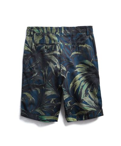 Made in New York Olive Palm Print Pleated Short