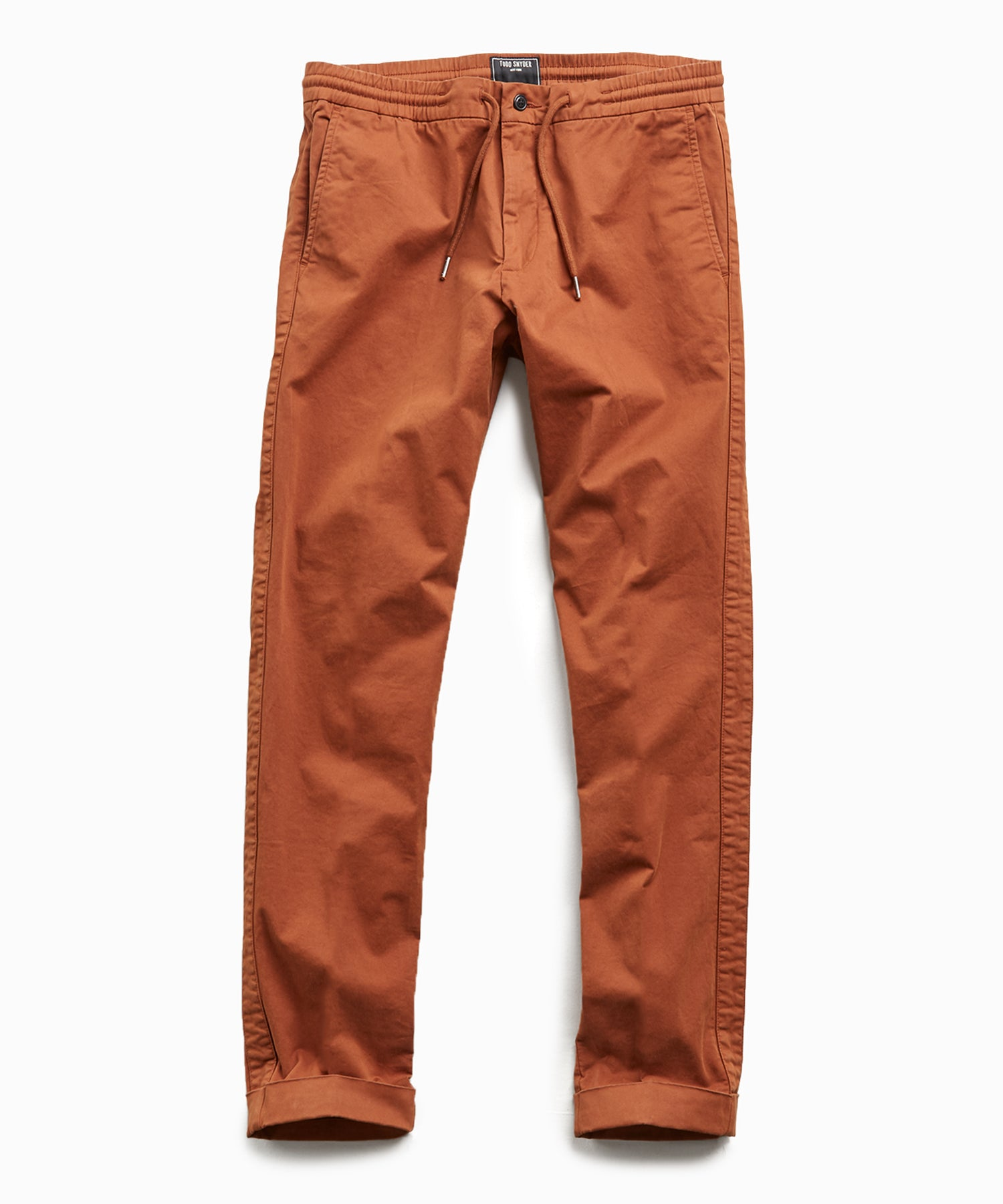 Stretch Drawstring Twill Jogger in Chestnut