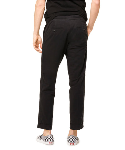 Stretch Drawstring Twill Jogger in Black