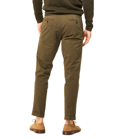 Stretch Drawstring Twill Jogger in Olive