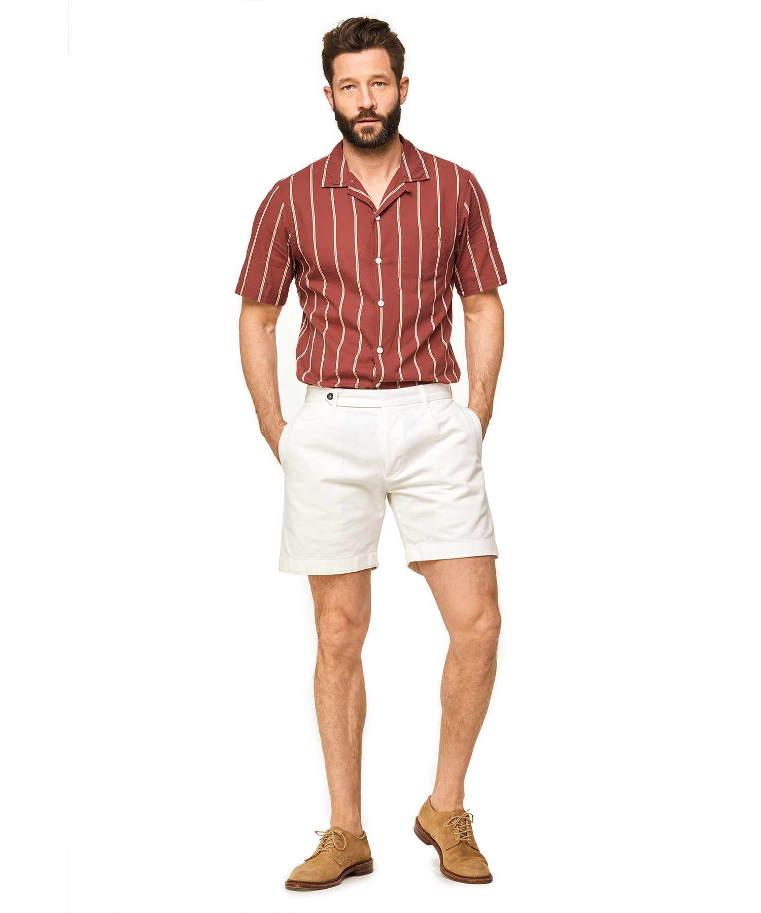 Extended Tab Selvedge Chino Short in White