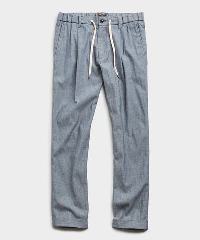 Chambray Traveler Suit Trouser in Indigo